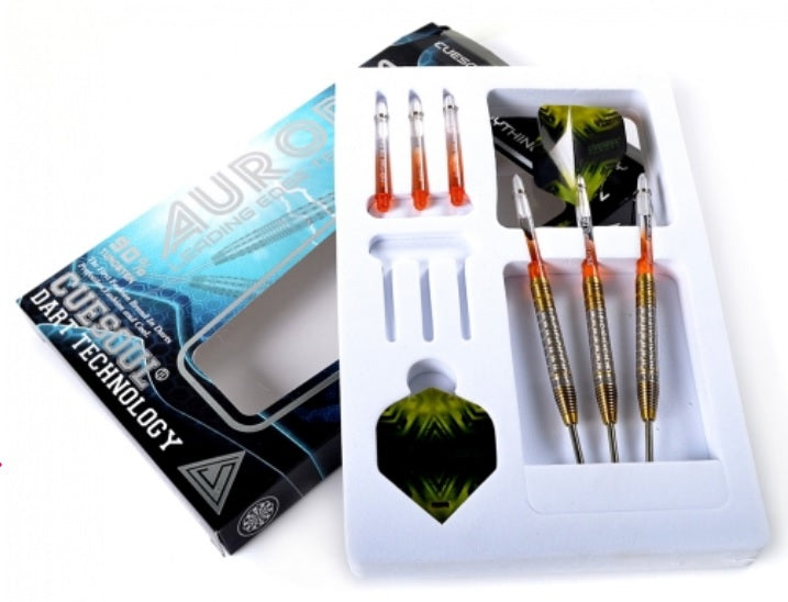 9. Cuesoul AURORA 21/23/25g Tungsten Dart Set with Gold Titanium Nitride Coating