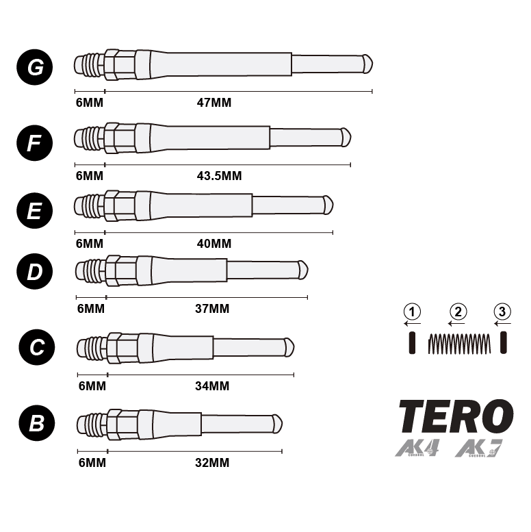 CUESOUL TERO AK7 Dart Shafts Built-in Spring Telescopic Gradient Color, Set of 4 pcs (6 Color Options & 5 Sizes)