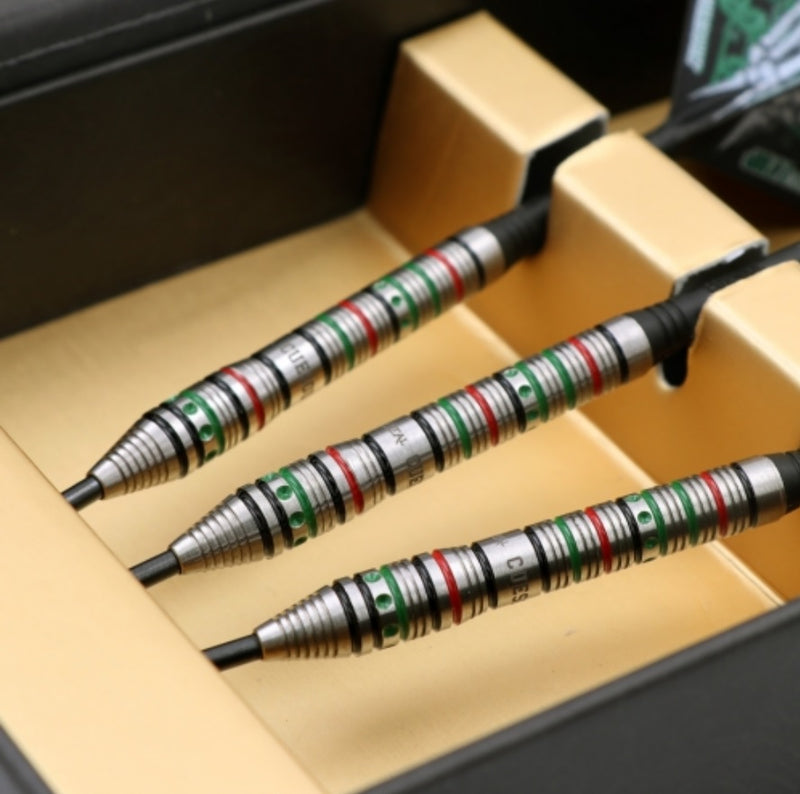 CUESOUL JAZZ-METAL 21/23/25g Steel Tip 90% Tungsten Dart Set with Integrated ROST Flights,Front Loaded