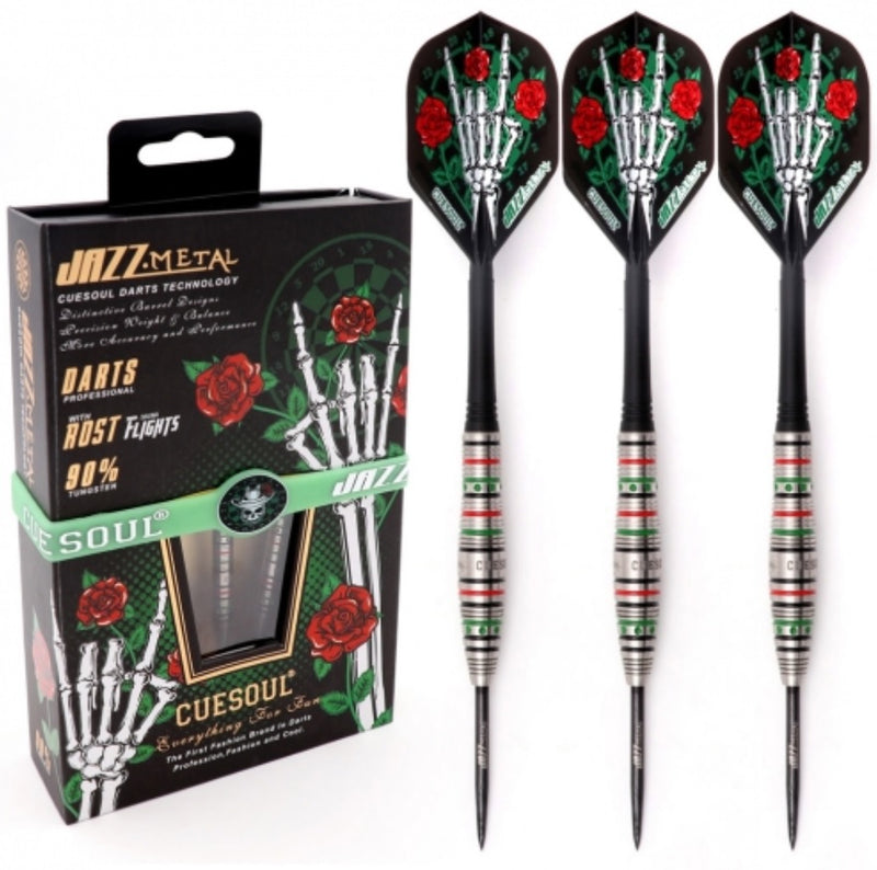 CUESOUL JAZZ-METAL 21/23/25g Steel Tip 90% Tungsten Dart Set with Integrated ROST Flights,Torpedo Shape
