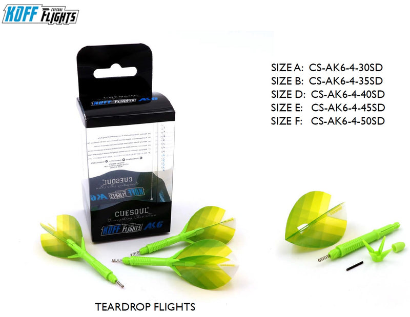 4. Cuesoul KOFF AK6 Dart Stem with Foldable Flight, TEARDROP, Set of 3 (4 Color Options & 5 Sizes)