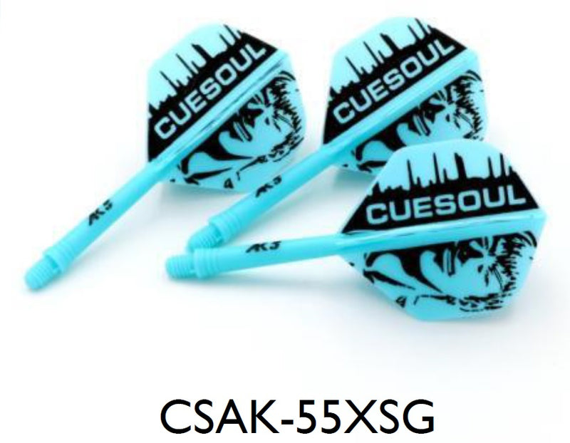 CUESOUL AK5 ROST Cuesoul Man Pattern Integrated Dart Shaft and Flights STANDARD, Set of 3 (M Size Only & 7 Color Options)
