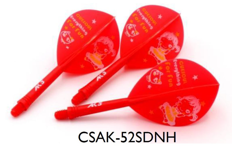 3. CUESOUL AK5 ROST LITTLE GIRL DESIGN Integrated Dart Shaft and Flight TEARDROP, Set of 3 (M Size Only & 7 Color Options)