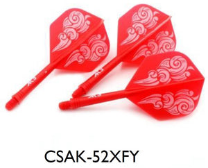 CUESOUL AK5 ROST WAVE Pattern Integrated Dart Shaft and Flights STANDARD, Set of 3 (SIZE M Only & 7 Color Options)
