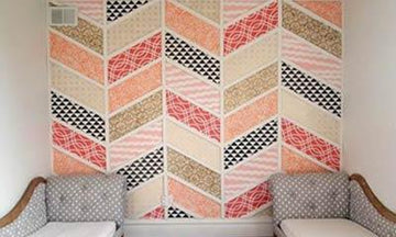 Patchwork Herringbone Stenciled Wall Mural