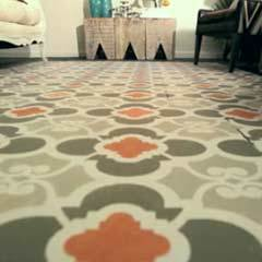 Stencil a Carpet on a Hardwood Floor