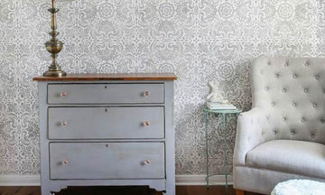 Shabby Chic Nursery Idea with Lace Wall Stencils