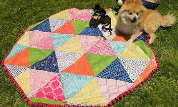 How to Stencil a DIY Patchwork Picnic Quilt