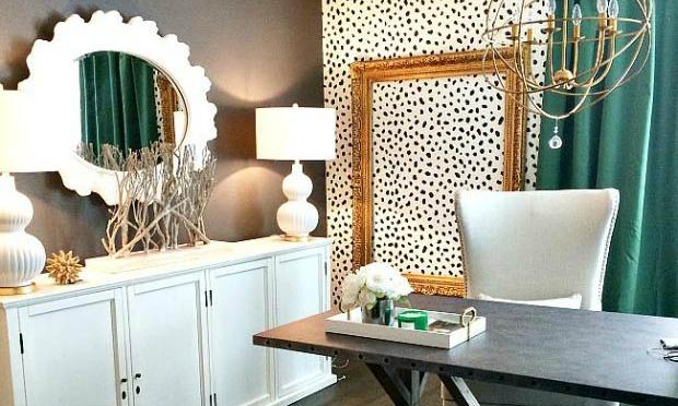 Trendy Office Makeover Idea Cheetah Spots Wall Stencils