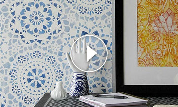 Paint Your Own Indigo Wallpaper Look with Wall Stencils