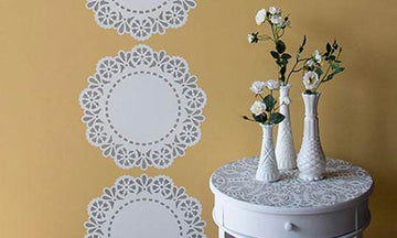 Stencil How-to: Lace Doily Stripe