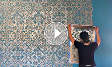 How to Stencil a Wallpaper Look for Less!