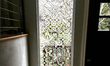 Privacy Screens Made Pretty with Stencils, Paint & Etched Glass