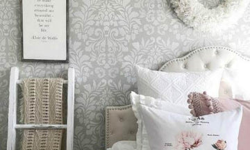 Stencil Your Bedroom with a Classic Damask Wallpaper Look