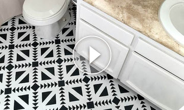 How to Stencil Black & White Bathroom Floor Tiles