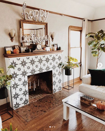 Get Cozy & Creative: Paint Your Fireplace Tiles with Stencils