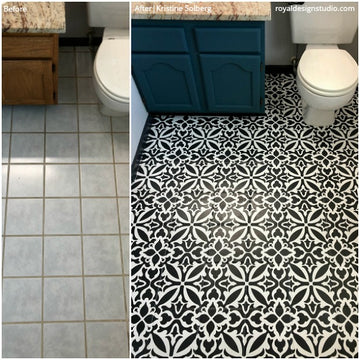 Beautiful Bathroom Stencils: Before & After