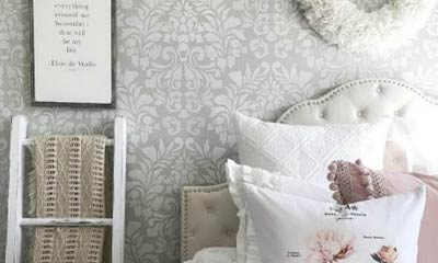 bedroom stencil ideas. Pamela of Home on Fern Hill has a gorgeous home that effortlessly blends  both Farmhouse Style and French Country With an artful balance between shabby Inspiration for Stencils Stenciling Patterns DIY Decor