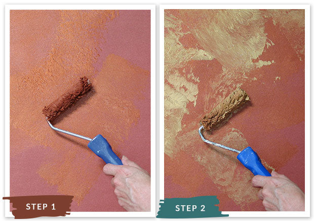 Royal Recipe from Royal Design Studio: How to Stencil Tutorial Copper Leaf Wallpaper Pattern with Wall Stencils