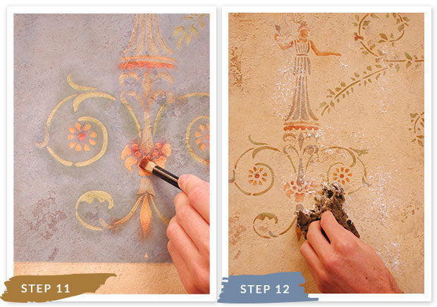 Royal Recipe: How to Stencil Tutorial Old World Italian Faux Fresco Mural with Wall Stencils and Sandstone Plaster