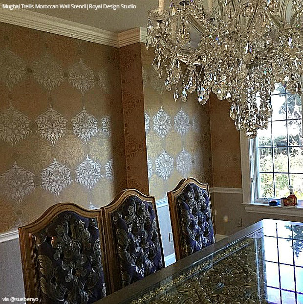 16 DIY Ideas Dare To Be Different With Dining Room Stencils Decorating And Painting