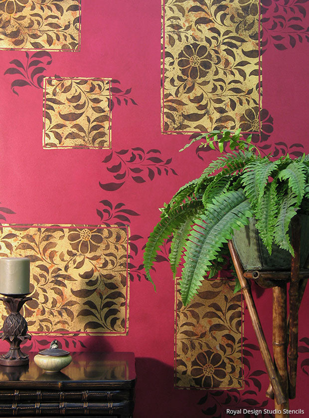 Royal Recipe from Royal Design Studio: How to Stencil Tutorial Floral Accent Wall Finish with Gold Leaf and Wall Stencils
