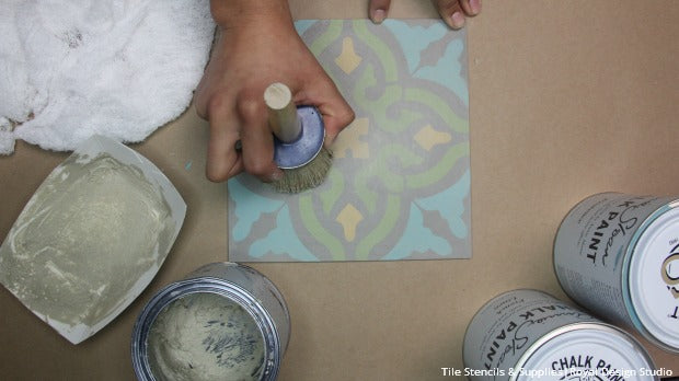 how to Stencil VIDEO Tutorial: Patterned and Painted Encaustic Tile Wall Decor