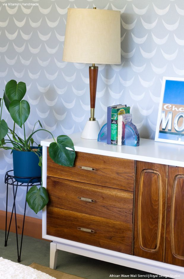 Modern Mid-Century Room Makeover and Stenciled Accent Wall - Royal Design Studio Wall Stencils