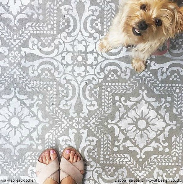 Painted Tile Floor Stencils that Anyone Can Do! 16 DIY Decorating Ideas for Floor Remodeling - Royal Design Studio Tile Stencils and Floor Stencils