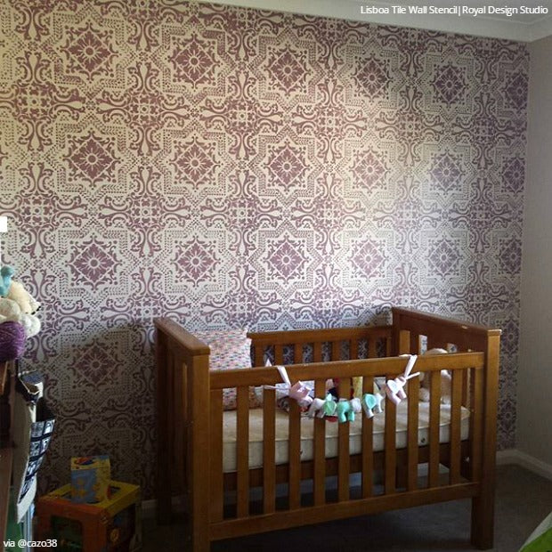 Fresh Start with DIY Decor Projects: 22 Nursery Makeovers with Wall Stencils - Royal Design Studio