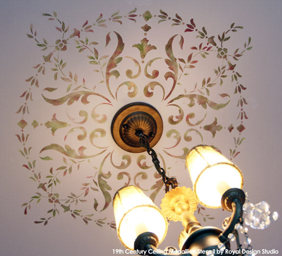 Close up of 19th Century Ceiling Medallion Stencil  | Royal Design Studio | Artist: Patty Presto