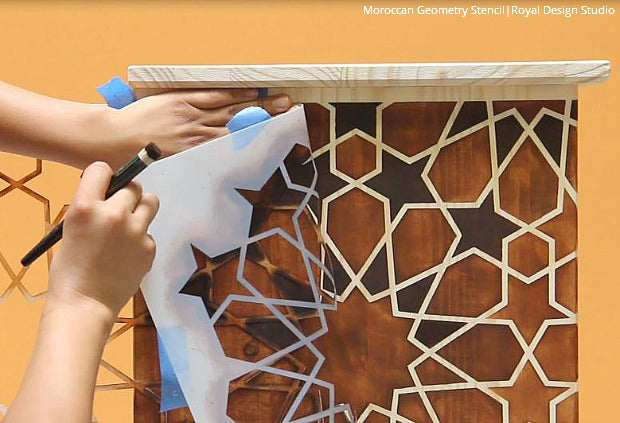 DIY VIDEO TUTORIAL - How to Stencil & Stain Furniture with a Faux Wood Inlay Design - Royal Design Studio Moroccan Furniture Stencils