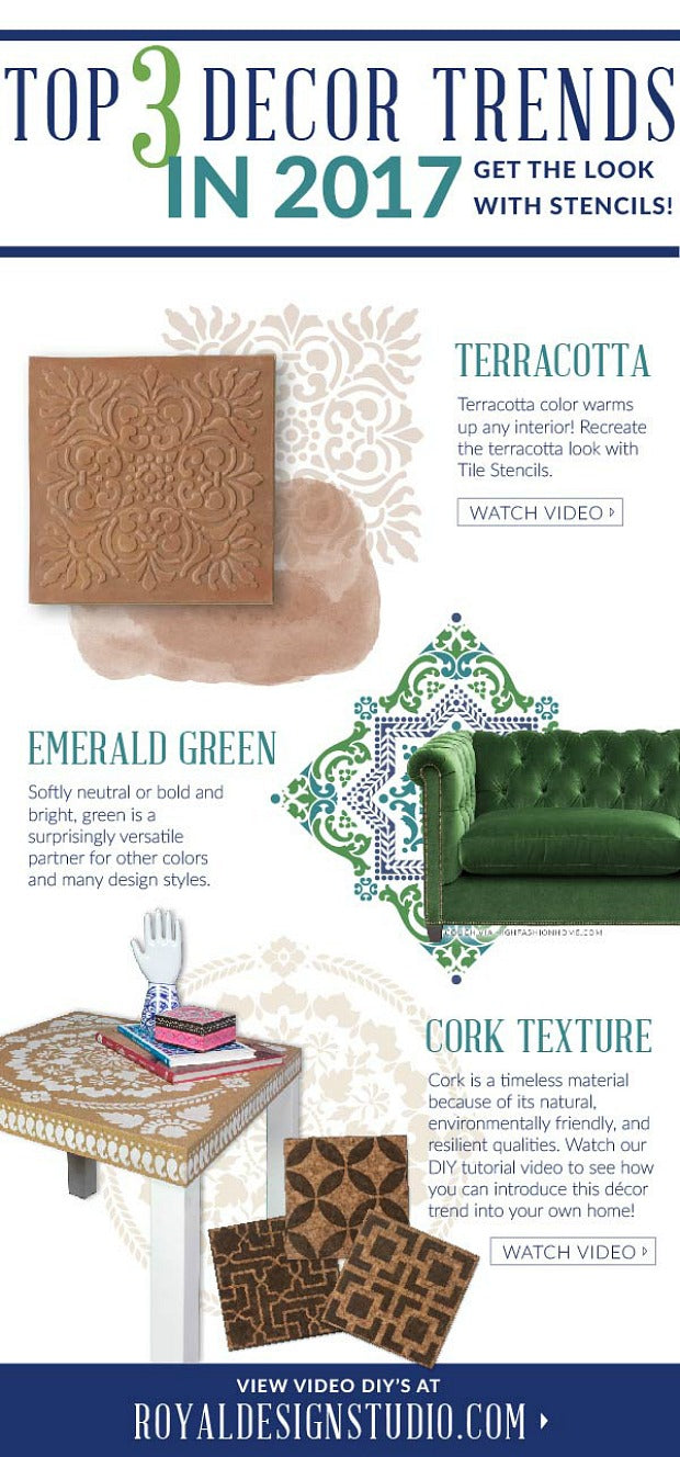 2017 Home Decor Trend Watch - Terracotta Wall Art, Green Couch, and Cork - Get the Look for Less with Royal Design Studio Stencils