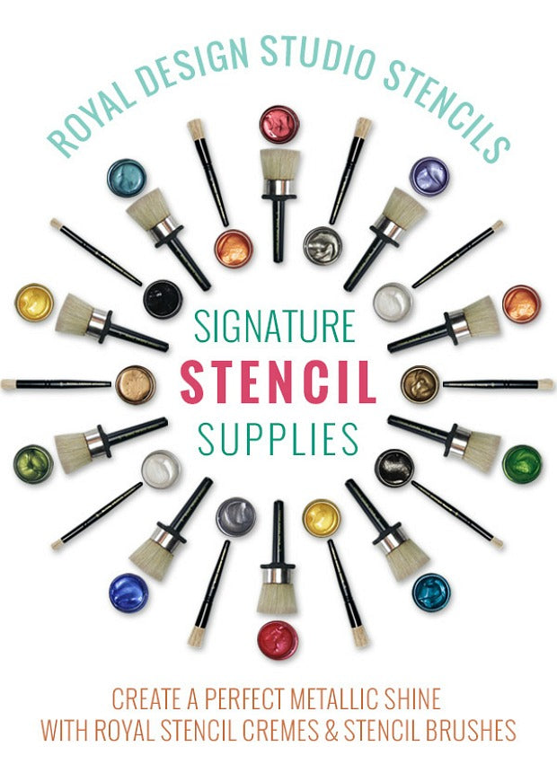 Royal Design Studio Stencils and Painting Supplies - Exclusive Stencil Brushes and Metallic Royal Stencil Creme Paints