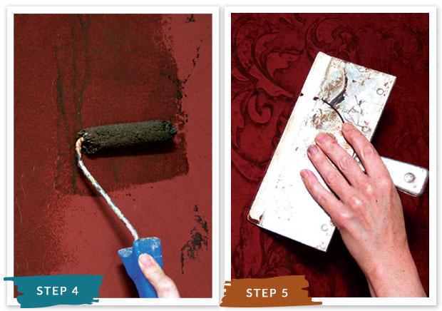 Royal Recipe from Royal Design Studio: How to Stencil Tutorial Gilded Red Leather Wall Finish with Vintage Damask Wall Stencils