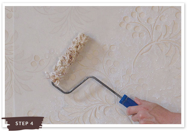 Royal Recipe from Royal Design Studio: How to Stencil Tutorial Frosted Floral Vine Design with Flower Wall Stencils and Sandstone Plaster