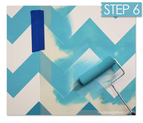 Perfect stenciled chevron stripe pattern with ombre finish