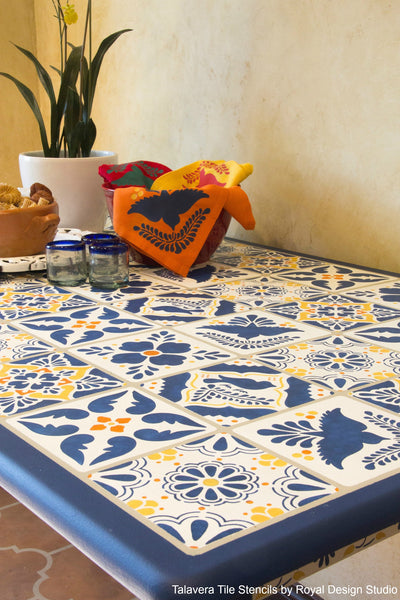 10 Ideas to Decorate for Cinco de Mayo (and the rest of the year!) with Latin American Art Stencils - Talavera Tiles and Otomi Folk Art Stencils by Royal Design Studio