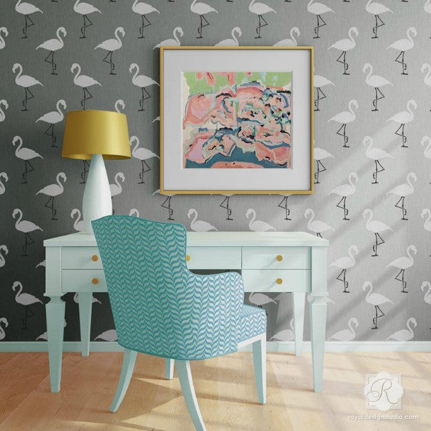 A Flock of Flamingo Stenciled Rooms! 11 DIY Decorating Ideas using Flamingo Wallpaper Wall Stencils - Royal Design Studio