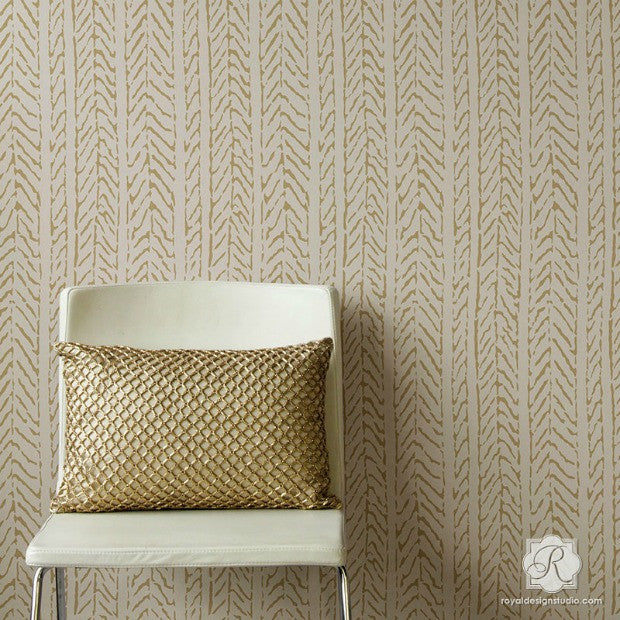 Cozy DIY Home Decor Ideas - Neutral and Natural Knitted and Weave Designs on Painted Walls - Woven Textures Stencils - Royal Design Studio