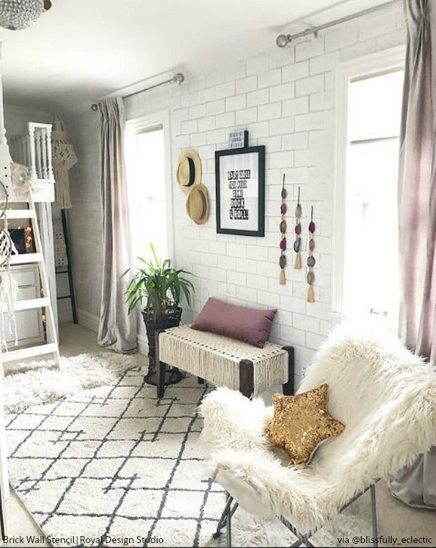 DIY Home Decorating Idea: Stencil a Faux Brick Wall or Subway Tiles - Royal Design Studio Wall Stencils for Painting Modern Farmhouse Style or Urban Chic Interior