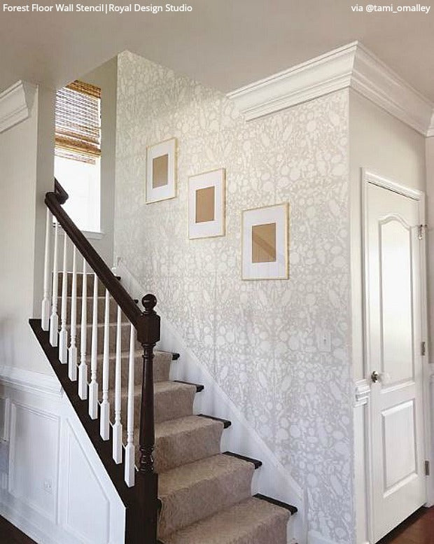 Do It Yourself: Painting Stairs and Stairwells with Stencils - Paint Stair Stencils for DIY Stair Riser Designs - royaldesignstudio.com