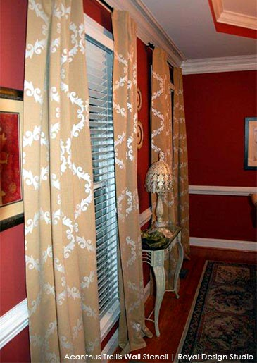 Small Acanthus Trellis Stencil on Window Drapes
