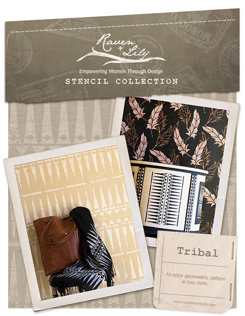 New Tribal African stencil for a Global Glam look on stenciled walls and furniture | Royal Design Studio