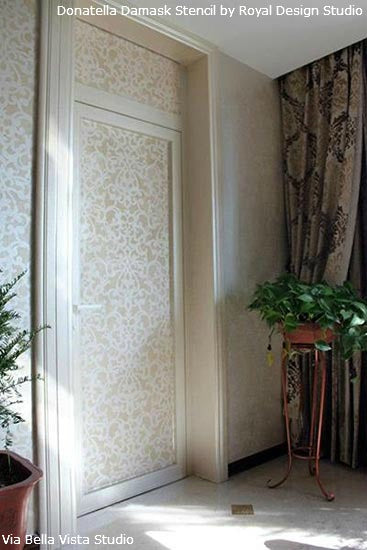 Stenciled Doors and Walls | Donatella Damask Stencil | Project by Bella Vista Studio
