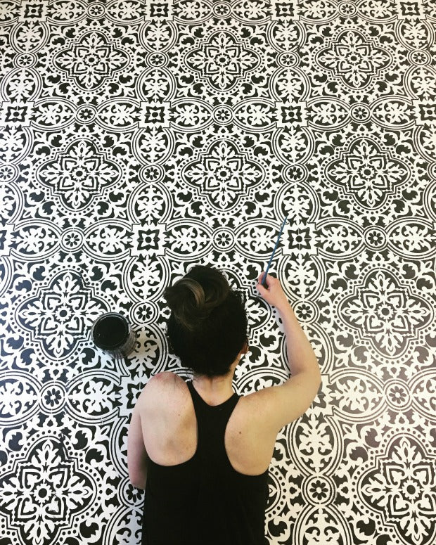 Black and White Re-Imagined: Stencils for Painting DIY Home Decor - Floor Stencils, Furniture Stencils, and Wall Stencils from royaldesignstudio.com