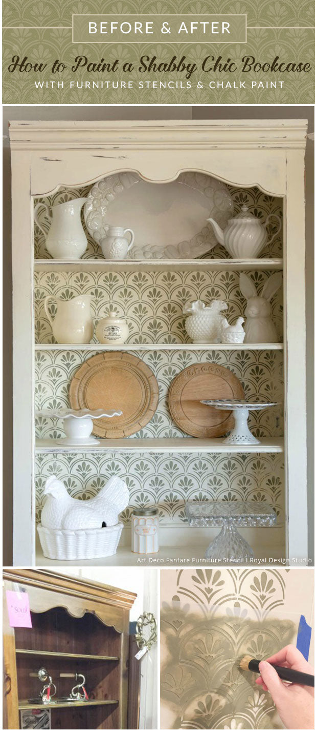 How To Paint A Shabby Chic Bookcase Furniture Stencils