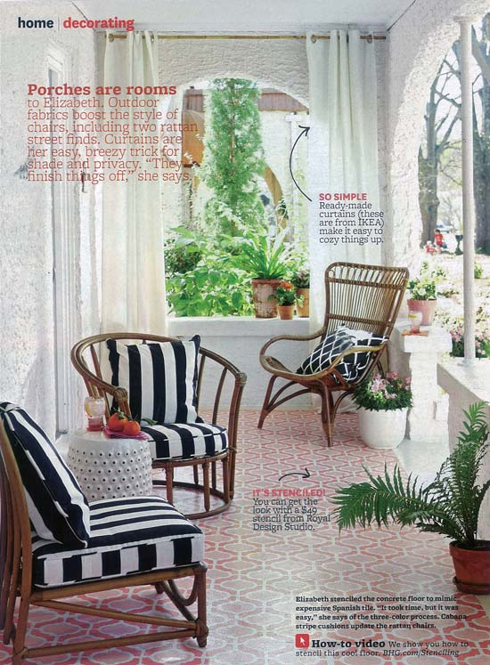 Sweet stenciled porch! The Casbah Trellis stencil from Royal Design Studio in BHG magazine