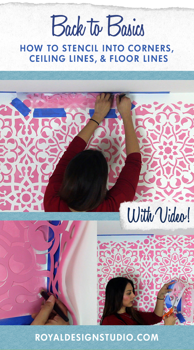 Stencil Basics VIDEO Tutorial: How to Paint into Corners, Ceiling Line, and Floor Line with Wall Stencils - Royal Design Studio