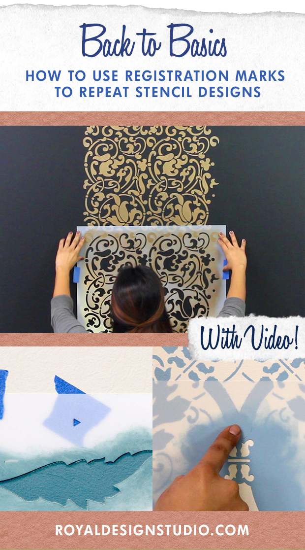 Stencil Basics VIDEO Tutorial: How to Use Registration Marks to Repeat Stencil Designs Across Accent Wall - Royal Design Studio Wall Stencils